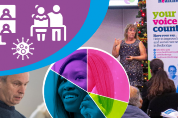 montage of Annual General Meeting, graphs, staff and service users