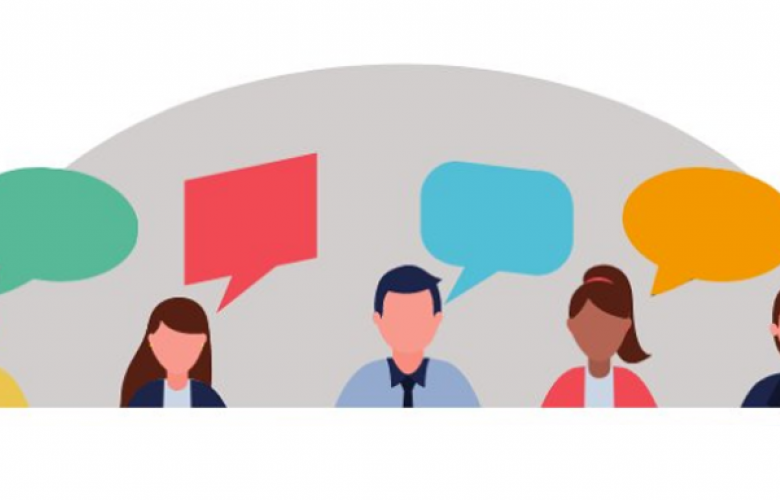 Illustration of group of people with speech bubbles
