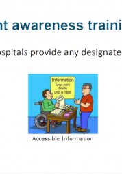 Illustration of a wheelchair user talking to company representative at a stand